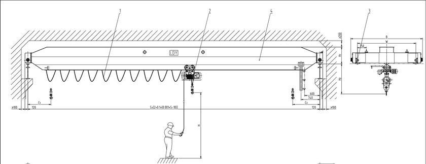 Ellsen LDY Type Single Girder Overhead Crane