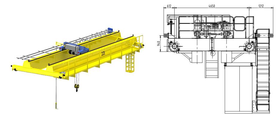 10 ton EOT double girder overhead crane